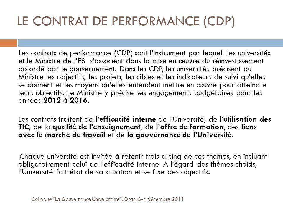 LE CONTRAT DE PERFORMANCE (CDP)