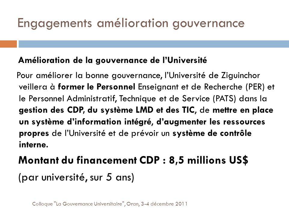 Engagements amélioration gouvernance