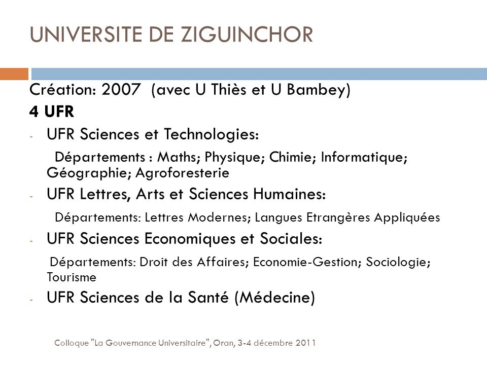 UNIVERSITE DE ZIGUINCHOR