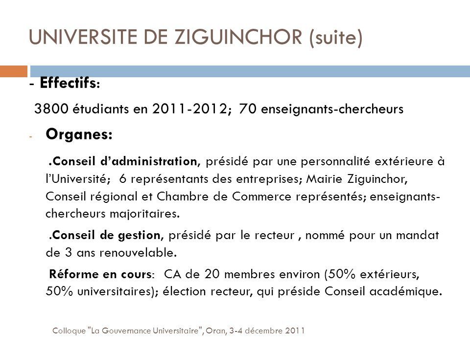 UNIVERSITE DE ZIGUINCHOR (suite)