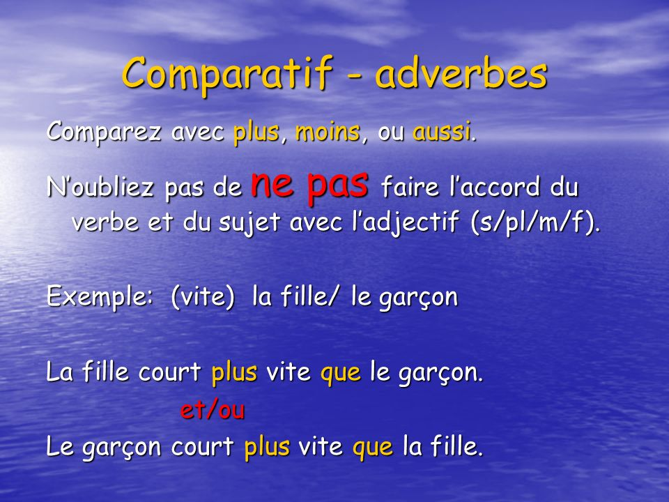 Comparatif - adverbes Comparez avec plus, moins, ou aussi.