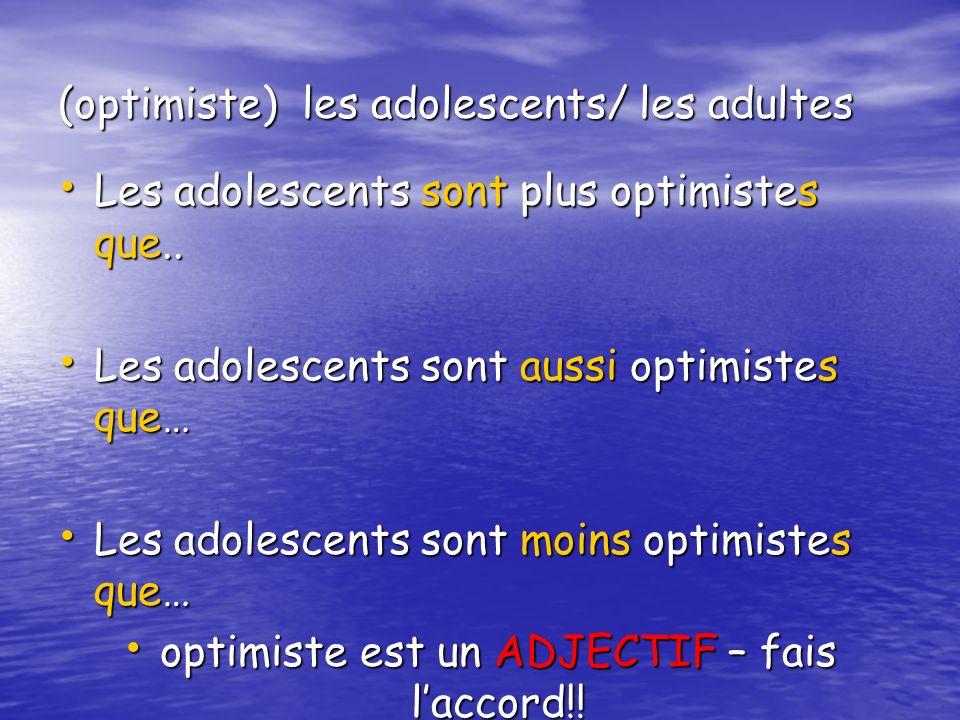 (optimiste) les adolescents/ les adultes