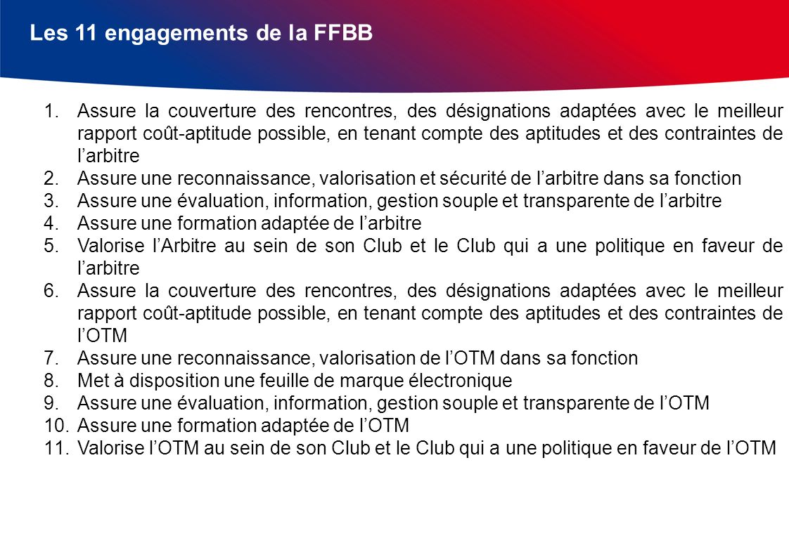 Les 11 engagements de la FFBB