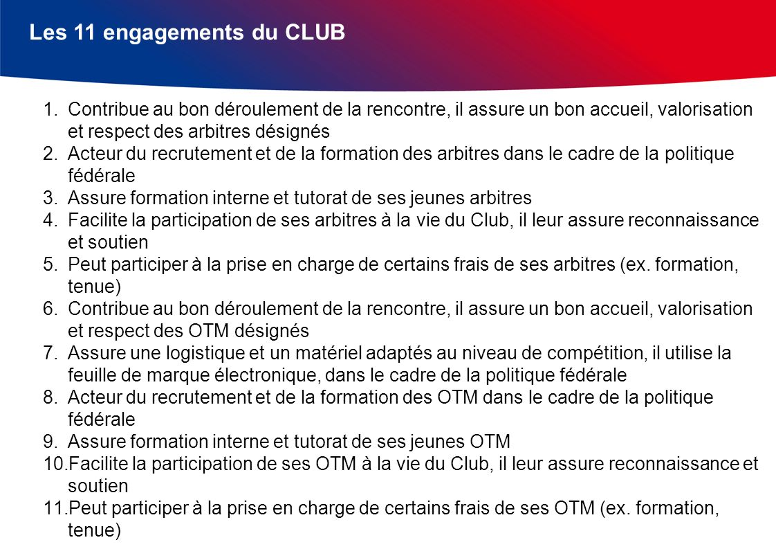 Les 11 engagements du CLUB