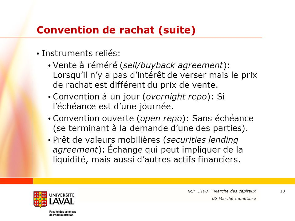 Convention de rachat (suite)