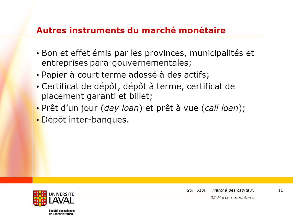 Autres instruments du marché monétaire