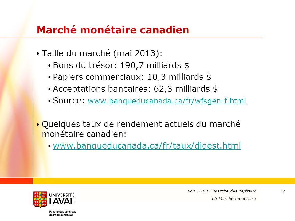 Marché monétaire canadien