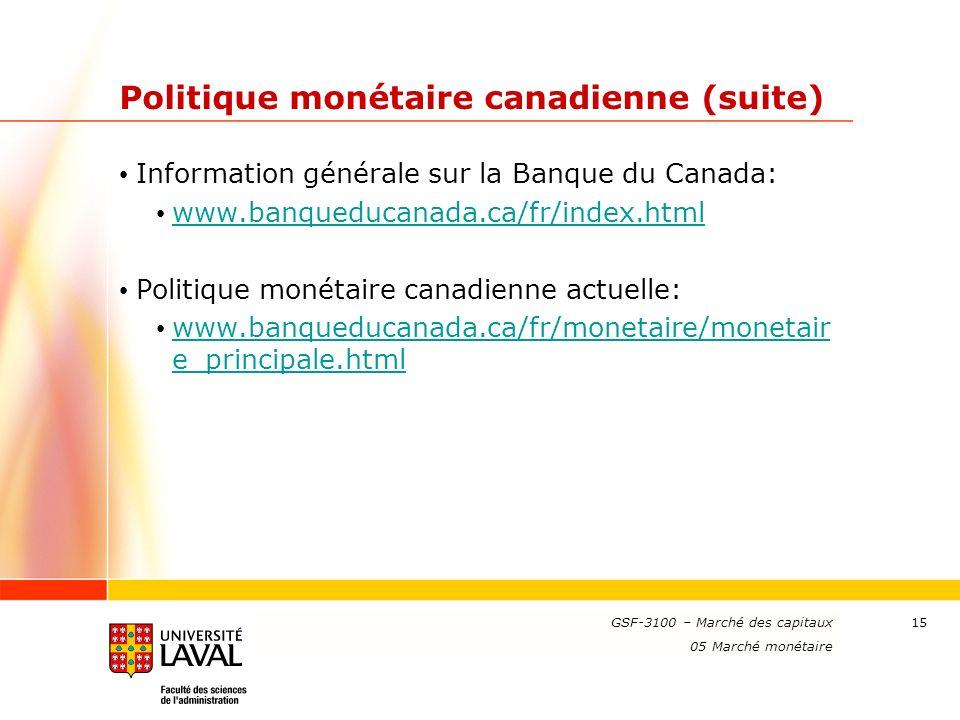 Politique monétaire canadienne (suite)