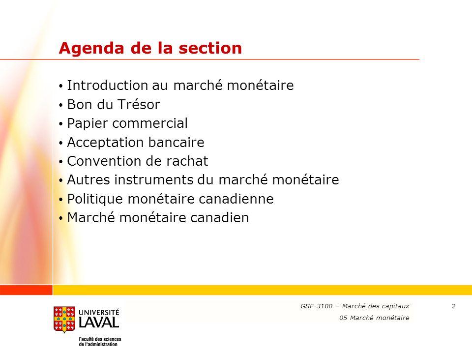 Agenda de la section Introduction au marché monétaire Bon du Trésor