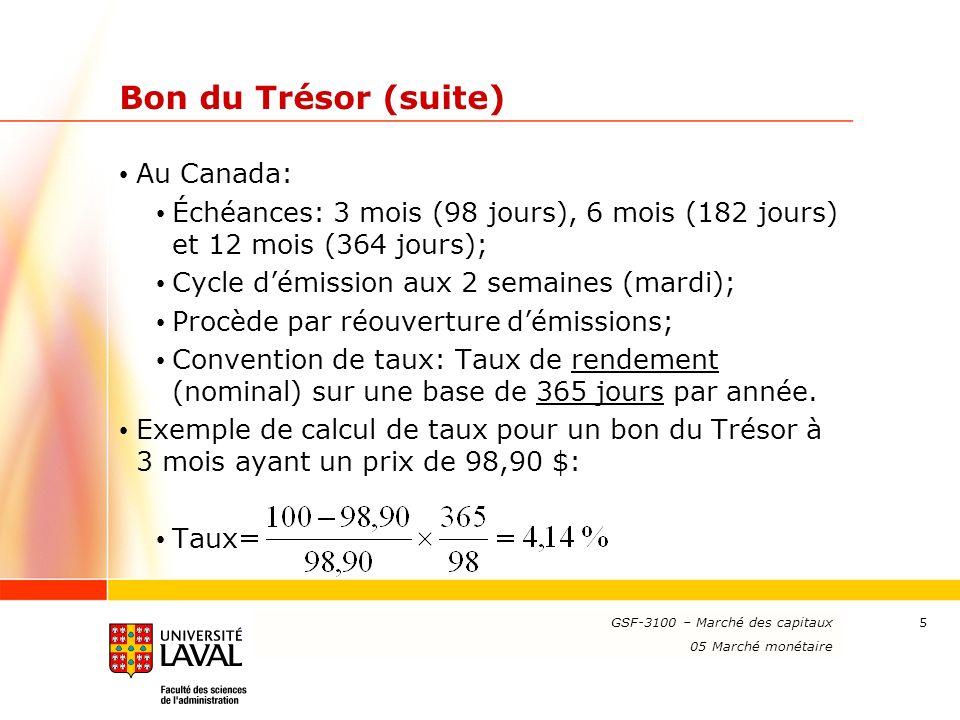 Bon du Trésor (suite) Au Canada: