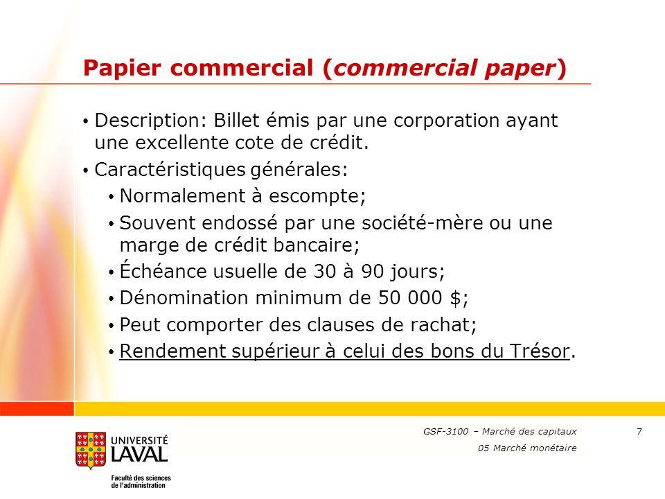 Papier commercial (commercial paper)