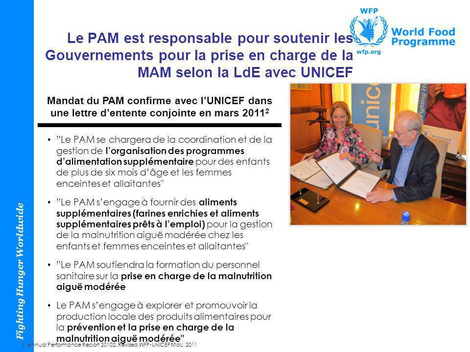 Le PAM est responsable pour soutenir les Gouvernements pour la prise en charge de la MAM selon la LdE avec UNICEF
