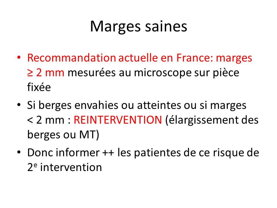 Marges saines Recommandation actuelle en France: marges ≥ 2 mm mesurées au microscope sur pièce fixée.