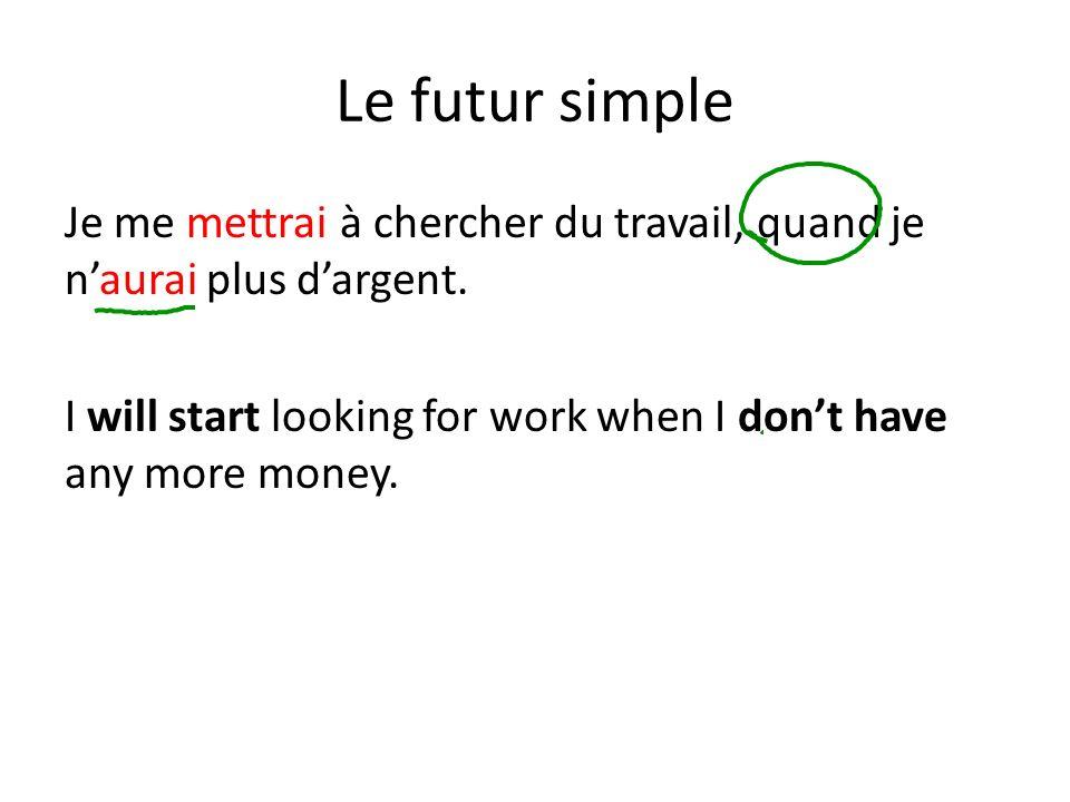Le futur simple Je me mettrai à chercher du travail, quand je n'aurai plus d'argent.