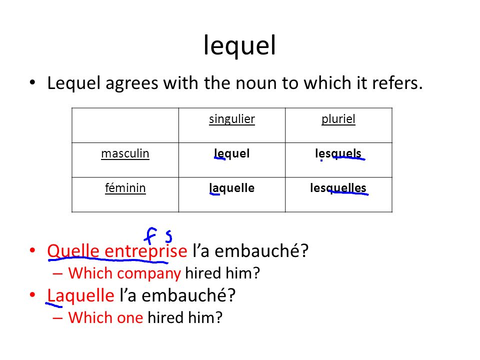 lequel Lequel agrees with the noun to which it refers.