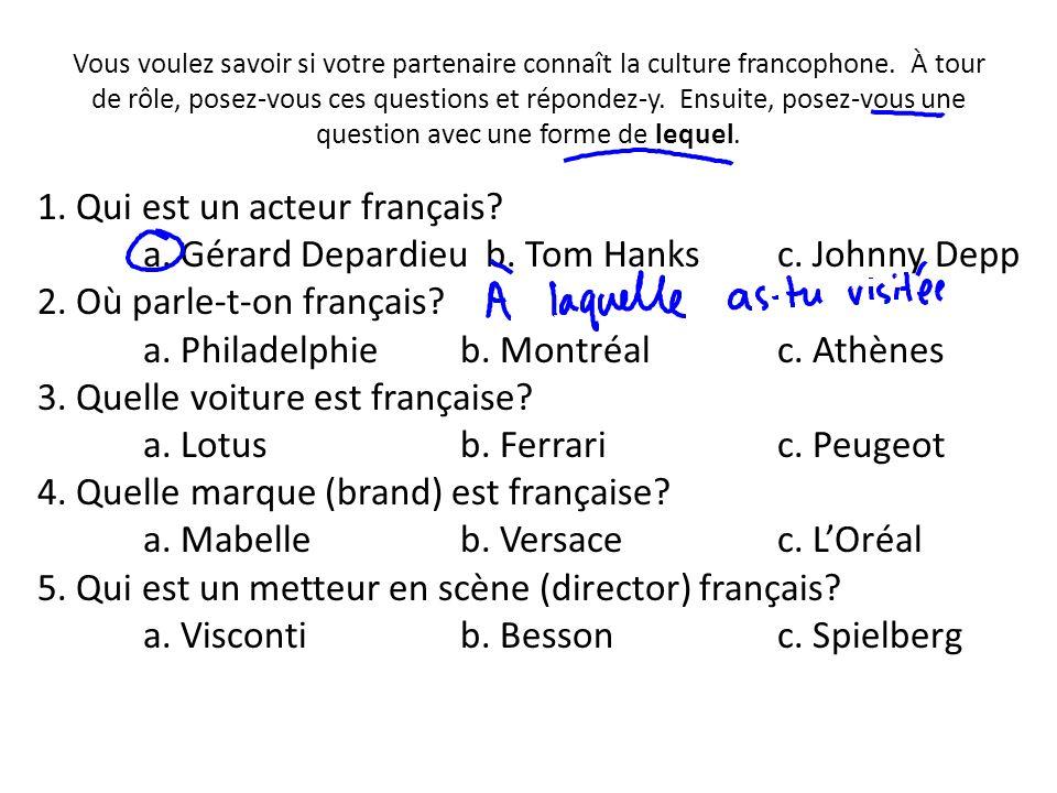 Vous voulez savoir si votre partenaire connaît la culture francophone