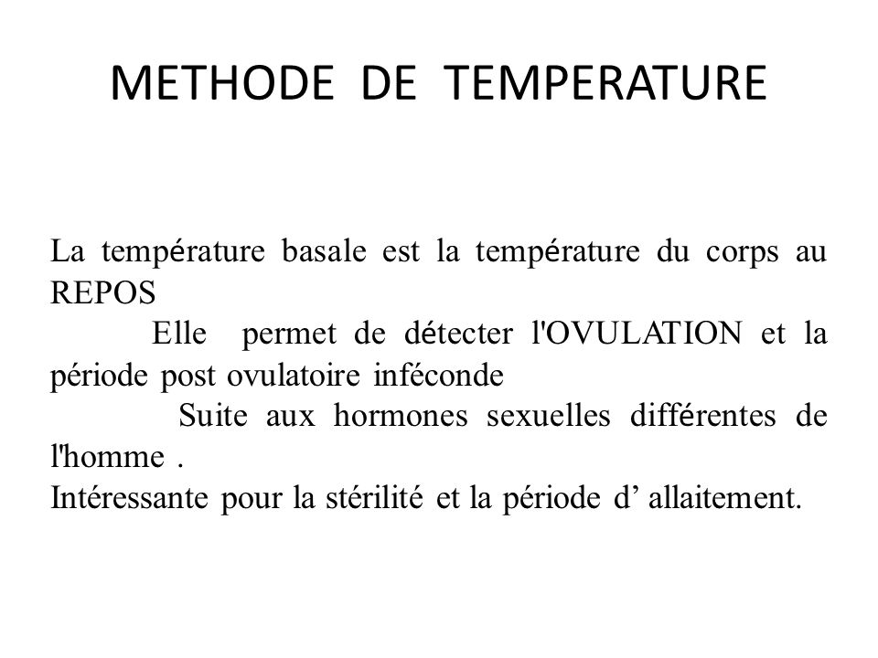 METHODE DE TEMPERATURE