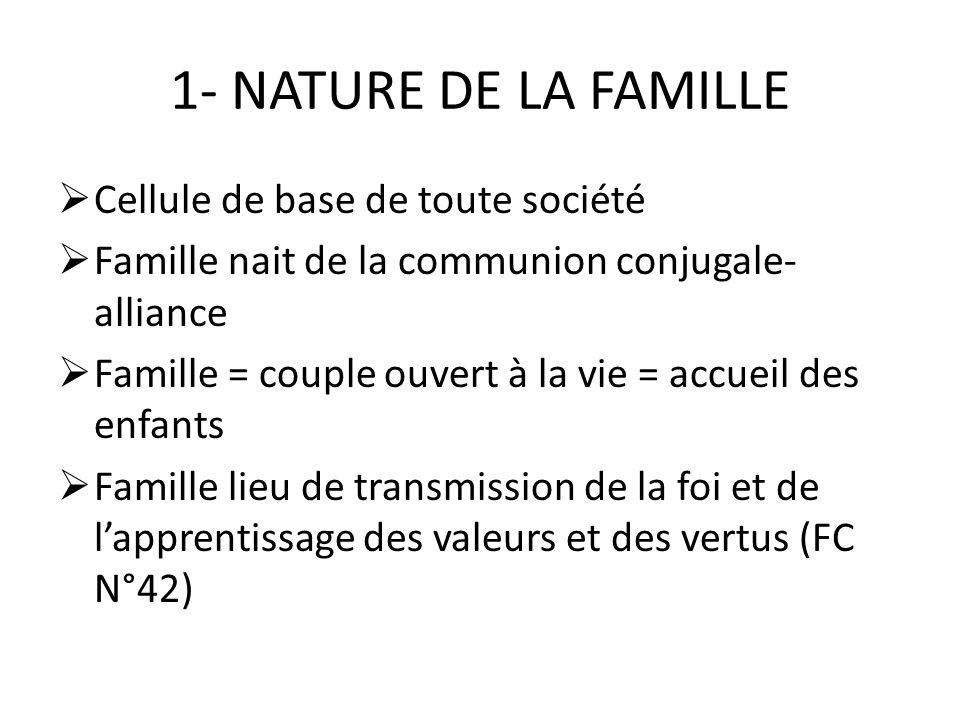 1- NATURE DE LA FAMILLE Cellule de base de toute société