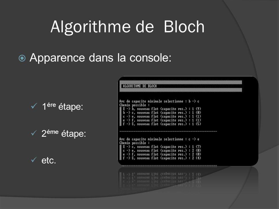 Algorithme de Bloch Apparence dans la console: 1ére étape: 2éme étape: