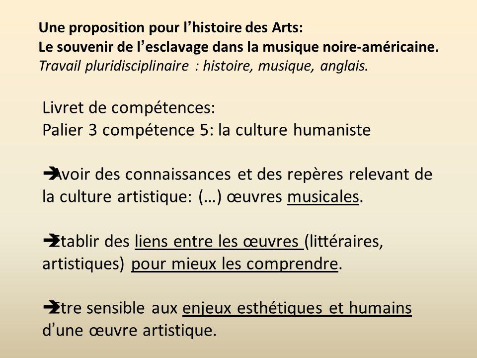 Livret de compétences: Palier 3 compétence 5: la culture humaniste