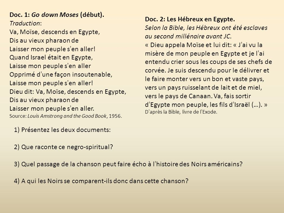 Doc. 1: Go down Moses (début). Traduction: