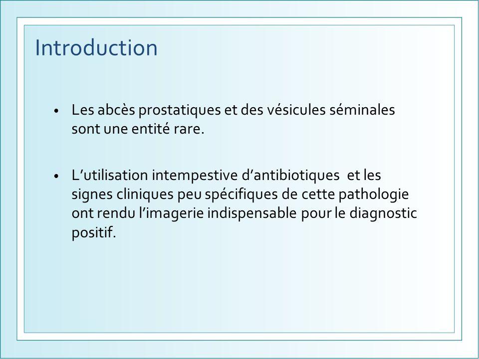 Introduction Les abcès prostatiques et des vésicules séminales sont une entité rare.