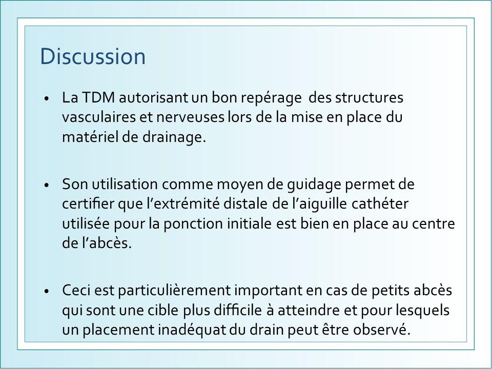 Discussion La TDM autorisant un bon repérage des structures vasculaires et nerveuses lors de la mise en place du matériel de drainage.