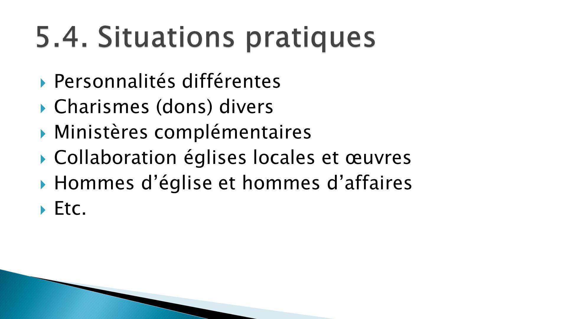 5.4. Situations pratiques Personnalités différentes