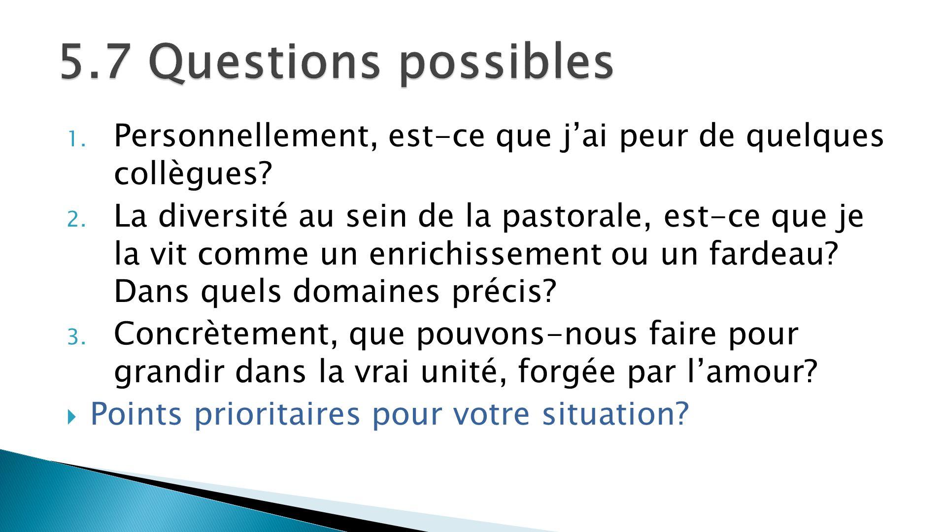 5.7 Questions possibles Personnellement, est-ce que j'ai peur de quelques collègues