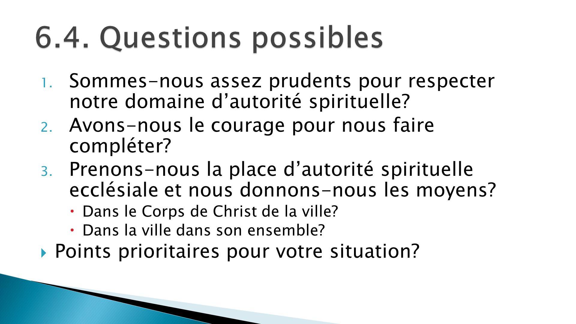 6.4. Questions possibles Sommes-nous assez prudents pour respecter notre domaine d'autorité spirituelle