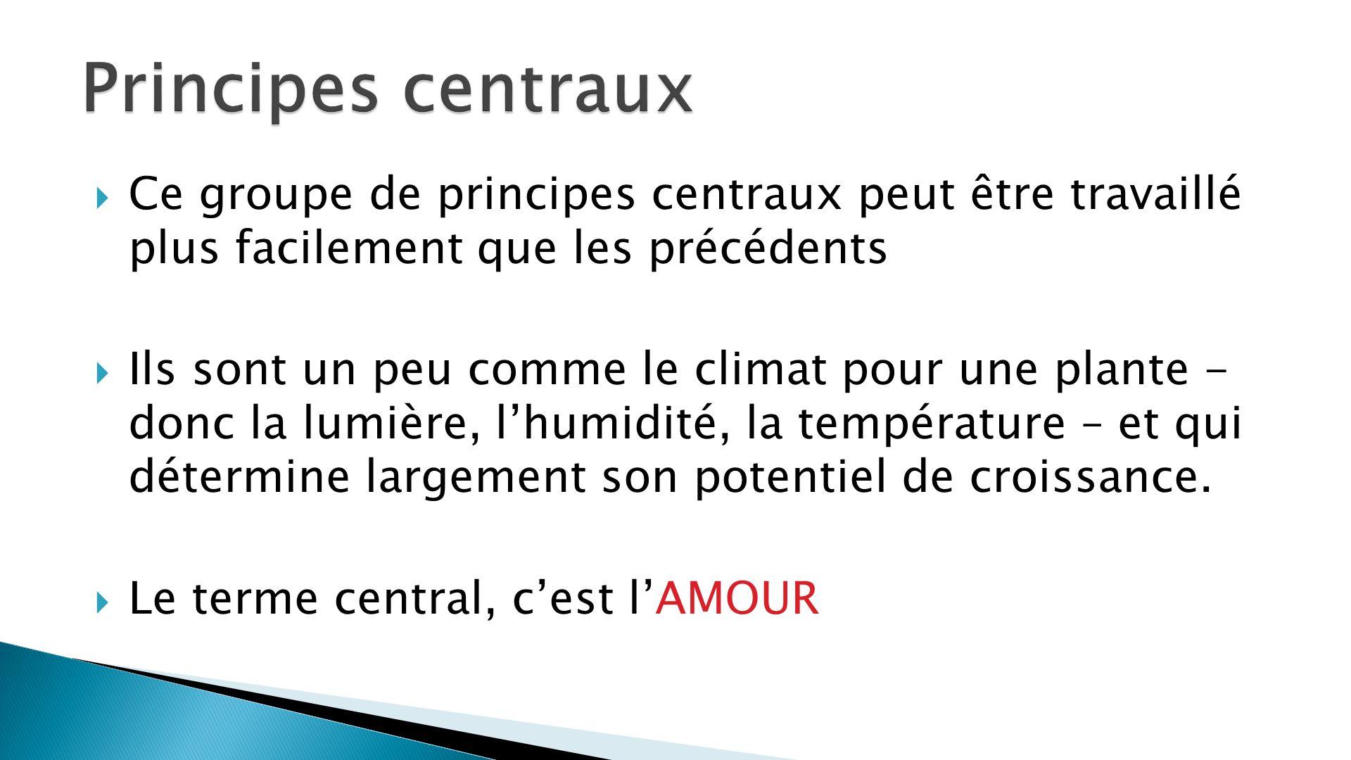 Principes centraux Ce groupe de principes centraux peut être travaillé plus facilement que les précédents.