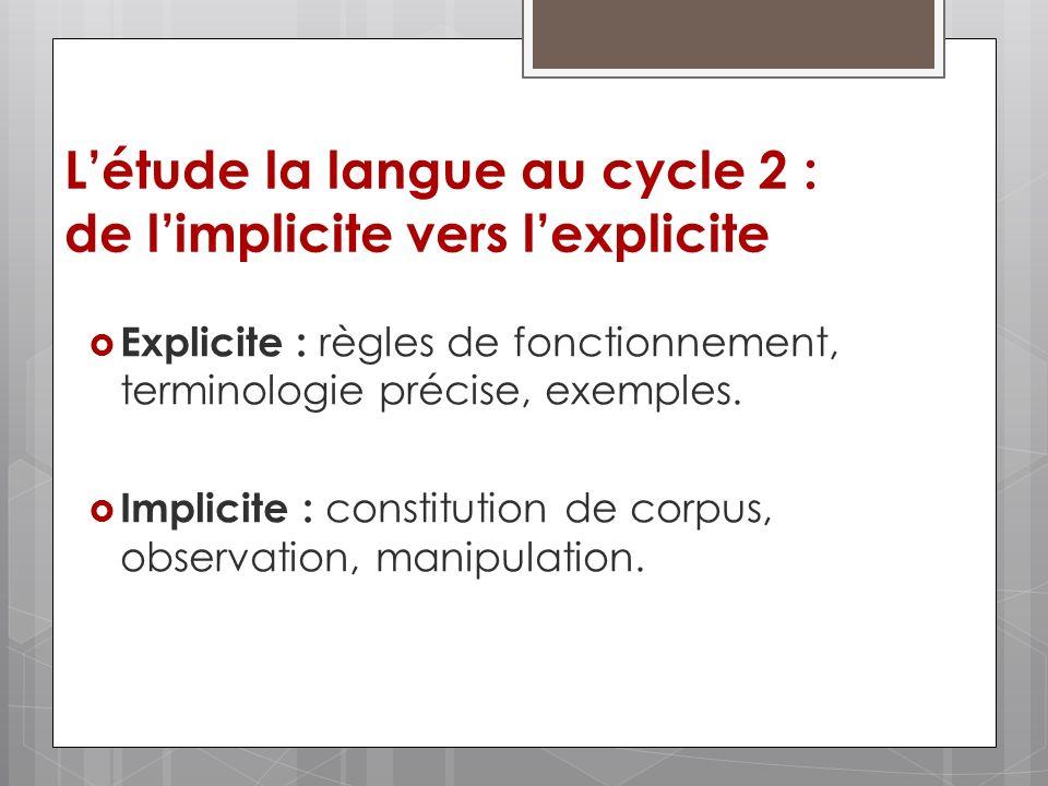 L'étude la langue au cycle 2 : de l'implicite vers l'explicite