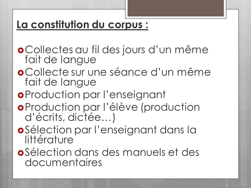 La constitution du corpus :