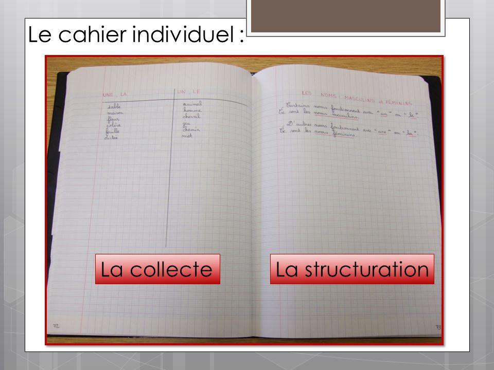 Le cahier individuel : La collecte La structuration