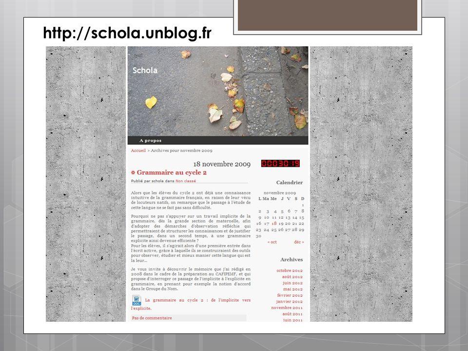 http://schola.unblog.fr Mémoire professionnel sur la « grammaire » (au sens large d'étude de la langue) au cycle 2.