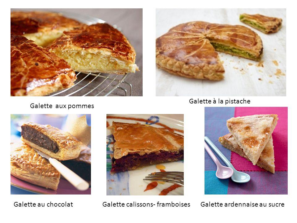 Galette à la pistache Galette aux pommes. Galette au chocolat.
