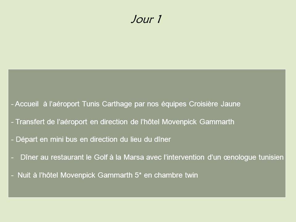Jour 1 - Accueil à l'aéroport Tunis Carthage par nos équipes Croisière Jaune. - Transfert de l'aéroport en direction de l'hôtel Movenpick Gammarth.