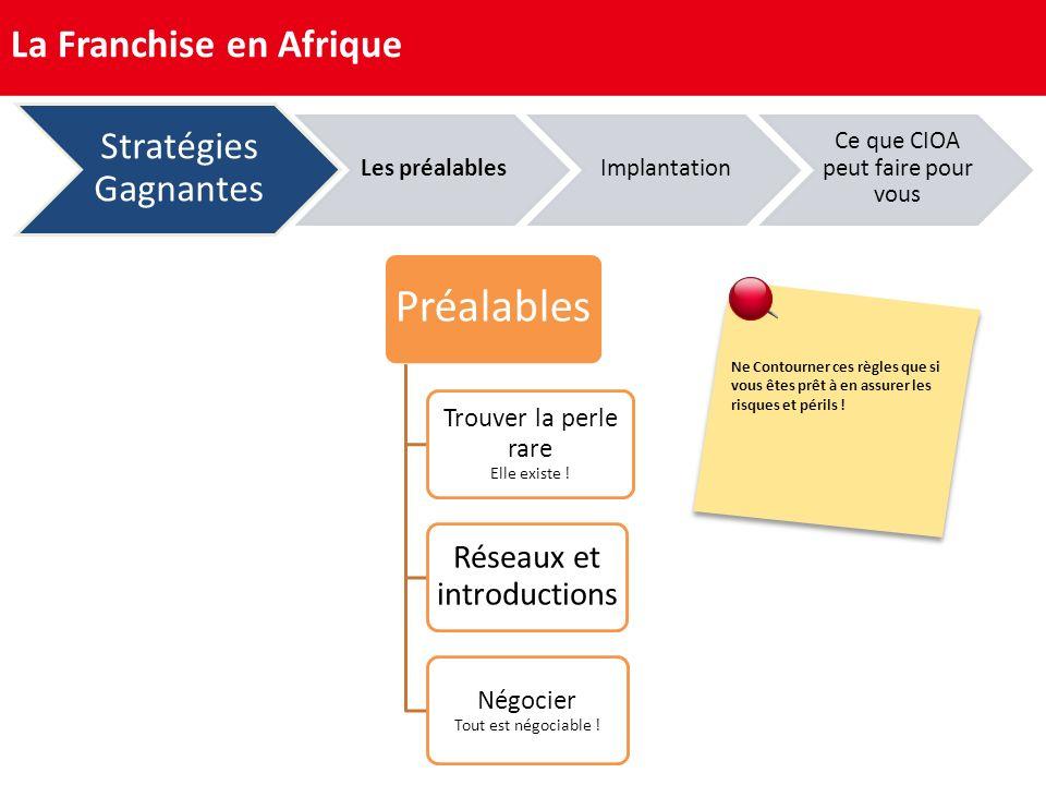 Préalables La Franchise en Afrique Stratégies Gagnantes