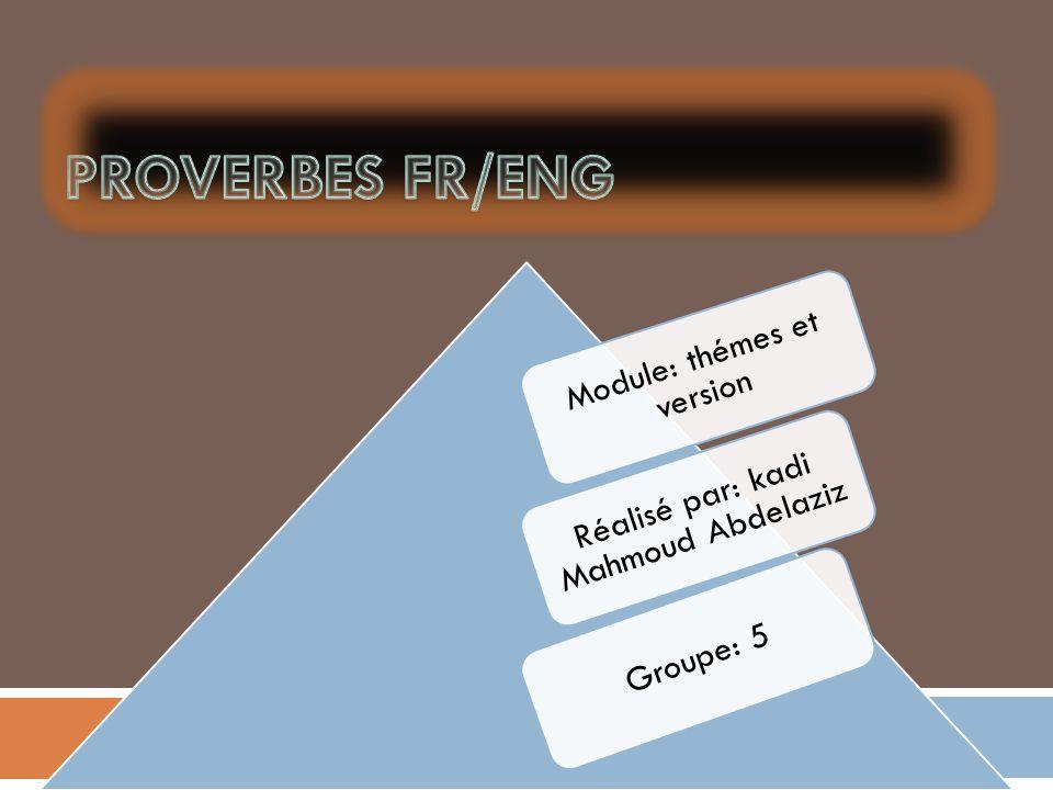 Proverbes fr/eng Module: thémes et version
