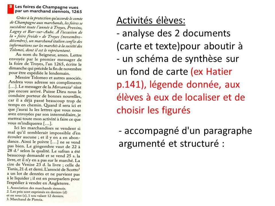 Activités élèves: - analyse des 2 documents (carte et texte)pour aboutir à.