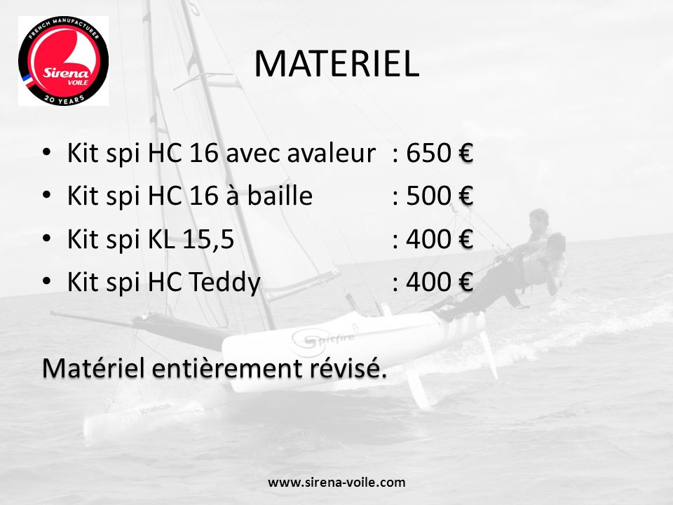 MATERIEL Kit spi HC 16 avec avaleur : 650 €