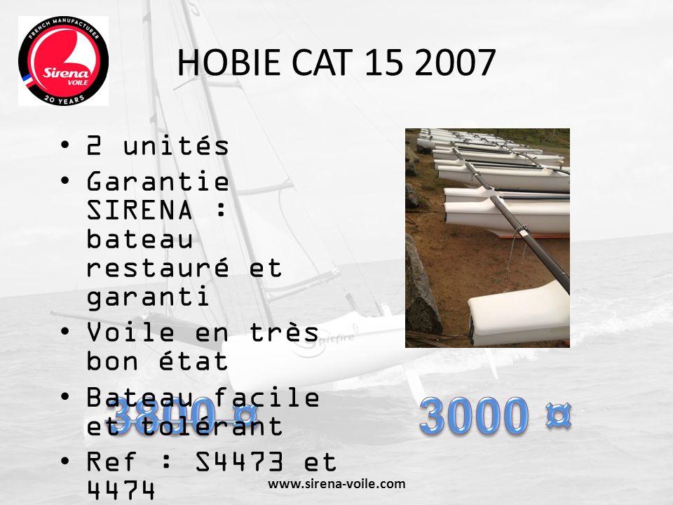 HOBIE CAT 15 2007 2 unités. Garantie SIRENA : bateau restauré et garanti. Voile en très bon état.