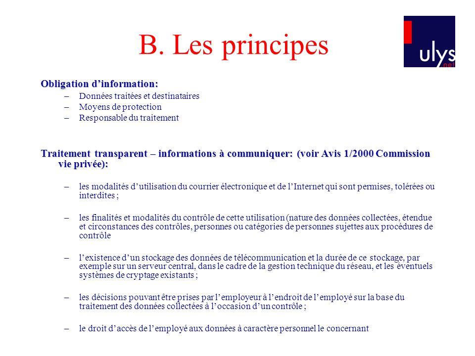 B. Les principes Obligation d'information: