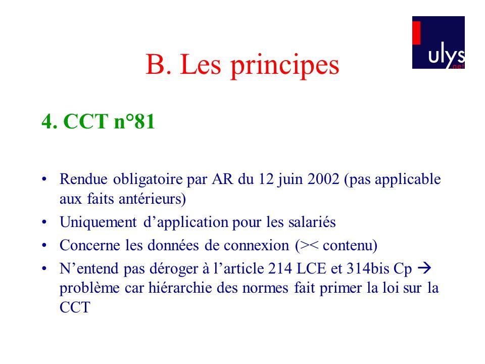 B. Les principes 4. CCT n°81. Rendue obligatoire par AR du 12 juin 2002 (pas applicable aux faits antérieurs)