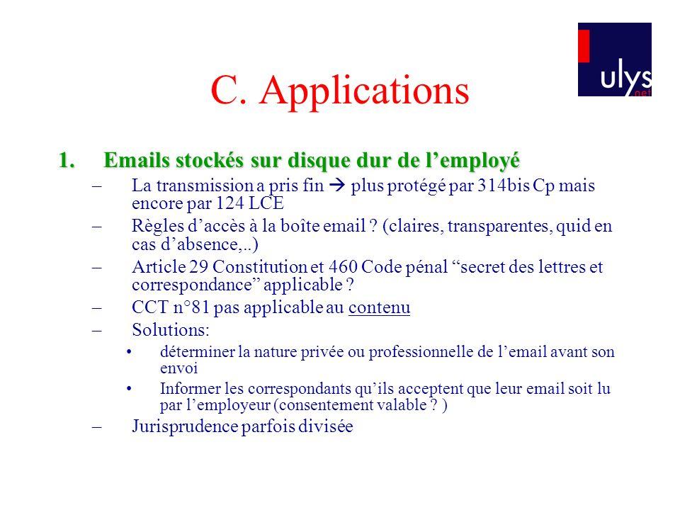 C. Applications Emails stockés sur disque dur de l'employé
