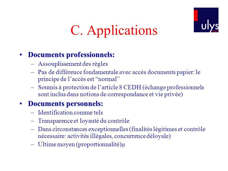 C. Applications Documents professionnels: Documents personnels: