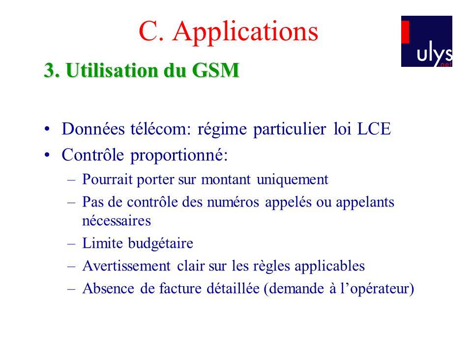 C. Applications 3. Utilisation du GSM