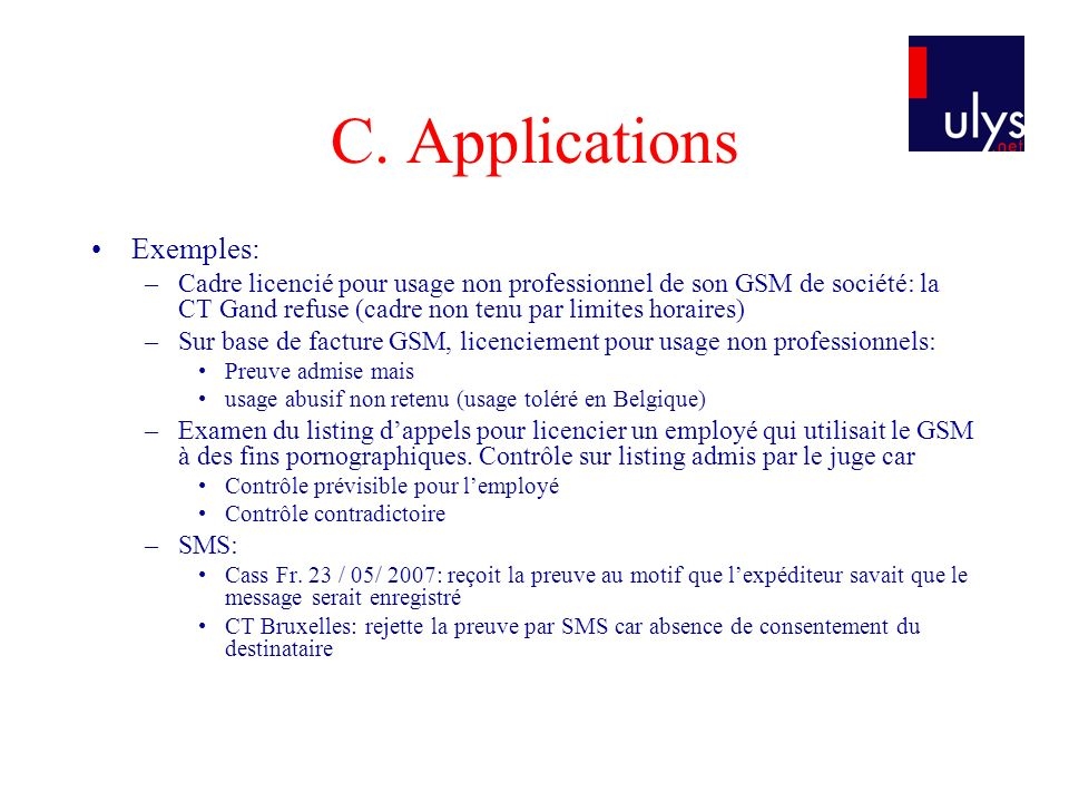 C. Applications Exemples: