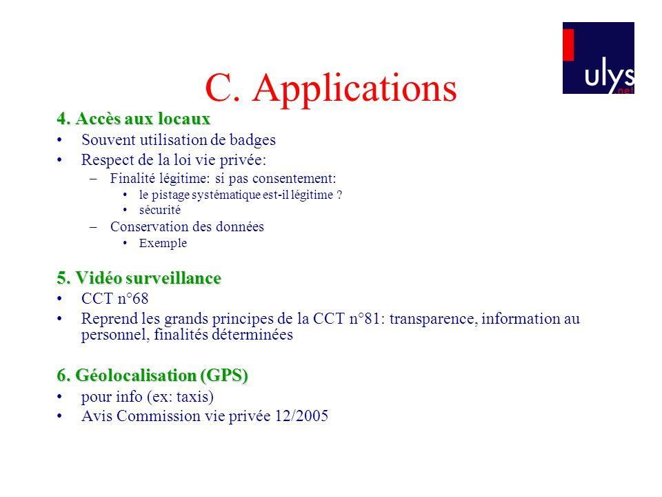 C. Applications 4. Accès aux locaux 5. Vidéo surveillance