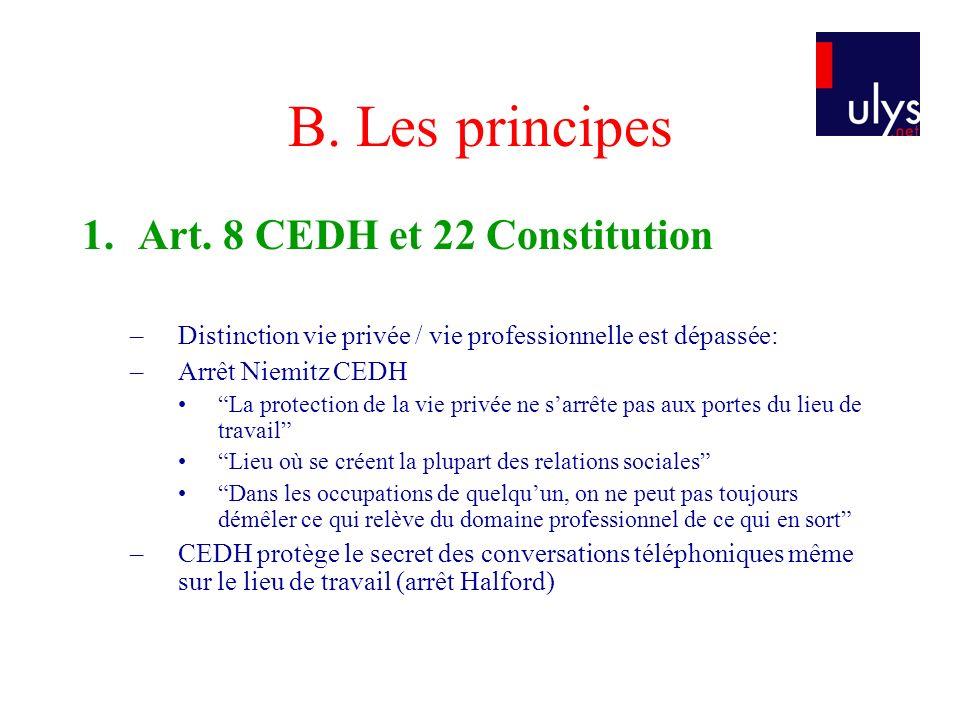 B. Les principes 1. Art. 8 CEDH et 22 Constitution